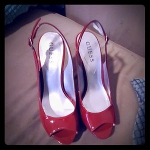 Guess Deep red open toed pumps